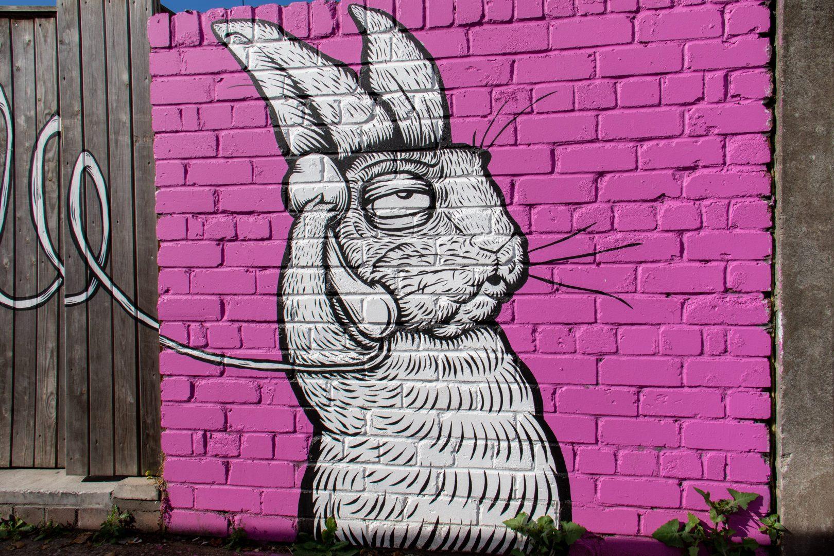 white rabbit using telephone wall art