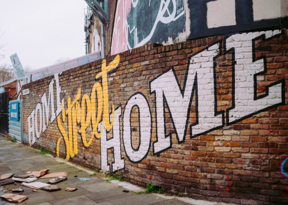 home street home brick wall painting