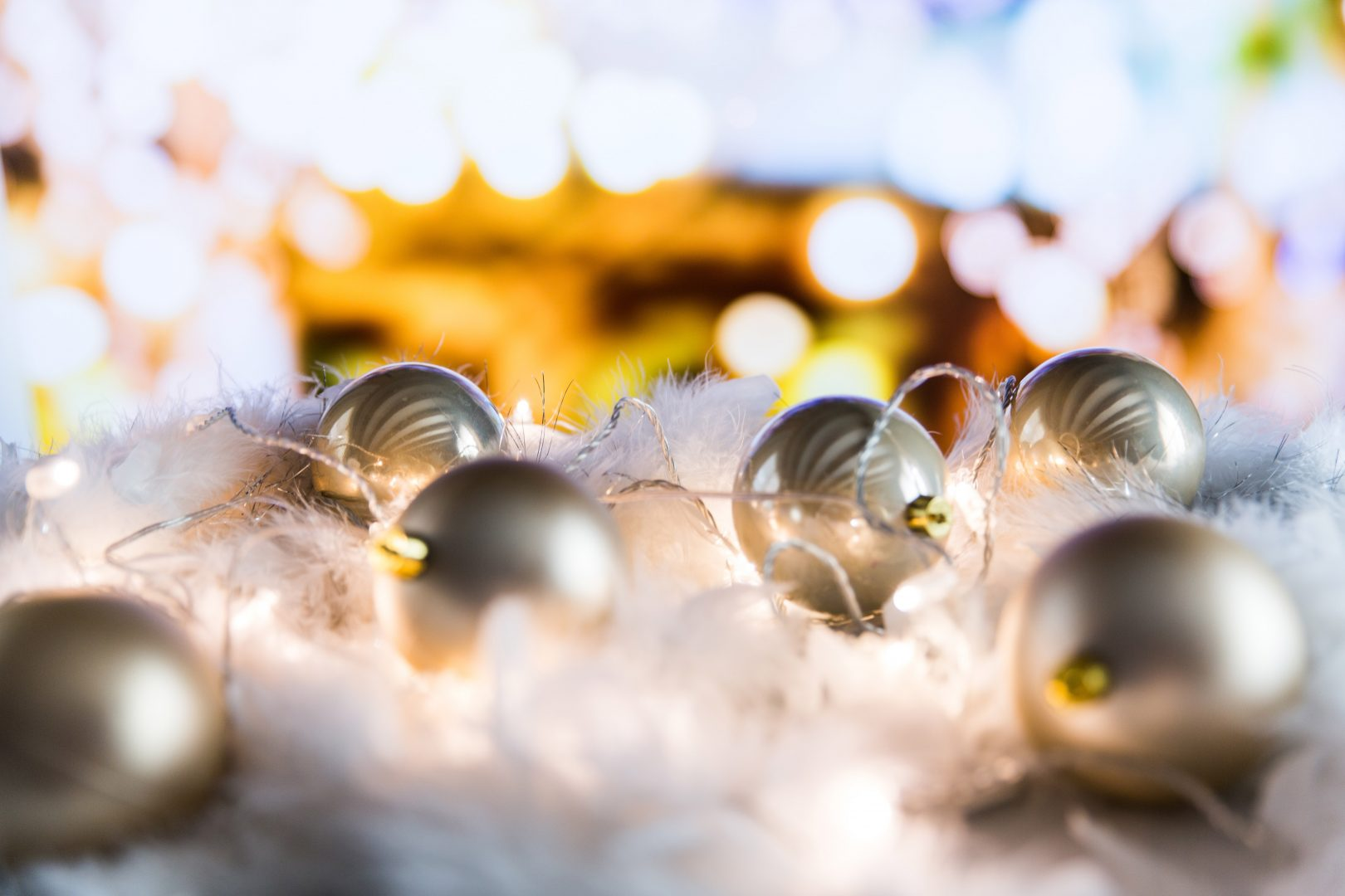 tilt shift lens photography of gray baubles