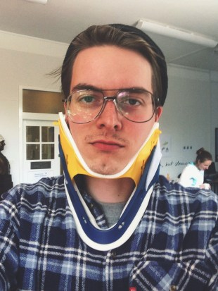 Santeri enjoying a neck support for a person with a broken neck.
