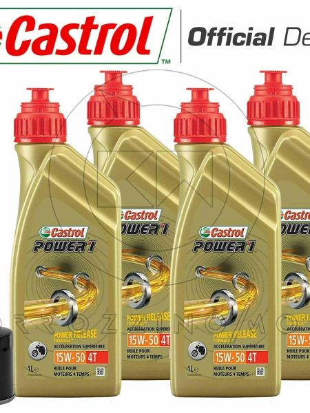 KIT TAGLIANDO 4LT OLIO CASTROL POWER 1 15w50 + FILTRO DUCATI 800 Monster ie 04