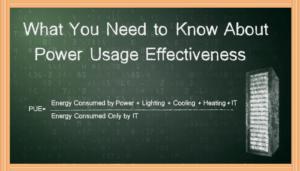 data center energy chalkboard showing power usage effectiveness