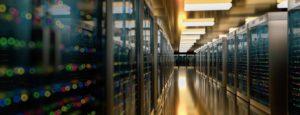 data center move shown in a data center hallway