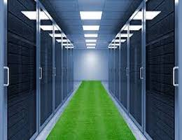 data center interior with green carpet indicating data center energy efficiency