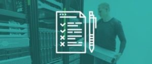 data center migration checklist with data center technician in background