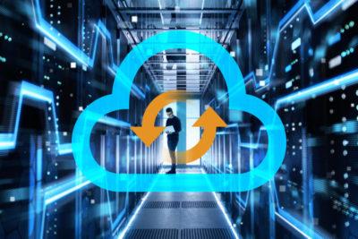 Hybrid Cloud illustration on data center background
