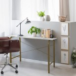 Versanora 40 Home Desk Table With Faux Marble Top Brass Frame Vnf 00092 Teamson Home Europe