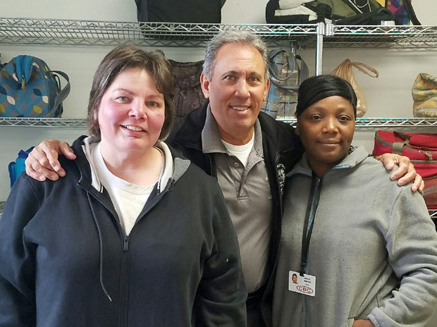 Local 710 Business Agent Mick Vendafreddo with South Holland Stewards Tami Cook (left) and Leslie Martin (right)