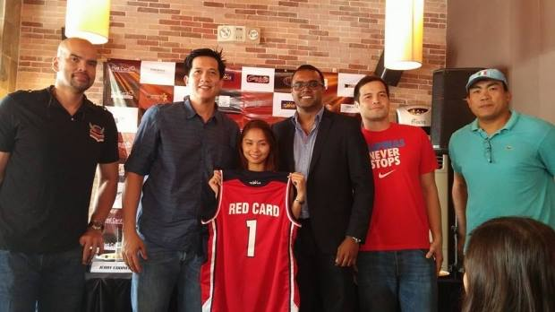 Philippine Basketball Legends posing for their tour, featuring Team Sure Win uniforms. In this picture: Benjie Paras, Jerry Codinera, TSW representative, Ms. Nicole Hernandez, Red Card Managing Director, R. Sasikumar, Alvin Patrimonio, and Nelson Asaytono.