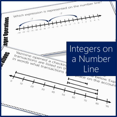 Operations with Integers on a number line in these task cards!
