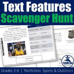 Nonfiction Scavenger Hunt for Text Features