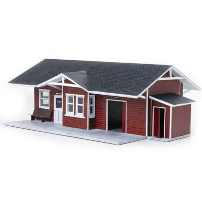train depot red paper model building railroad