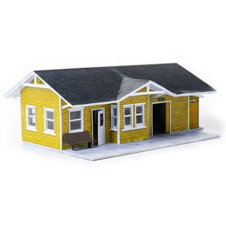 train depot yellow paper model building railroad