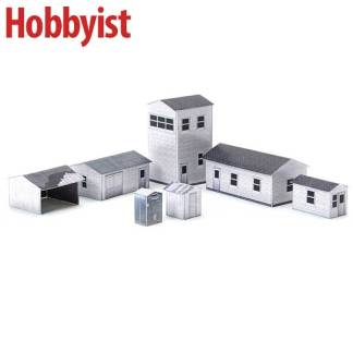 Yard buildings in white lapboard paper model kit