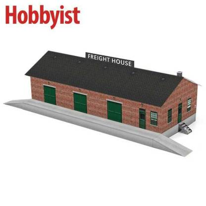 Freight house paper model kit in red brick