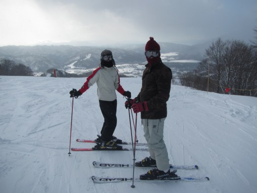 Wearing the latest ski fashions!