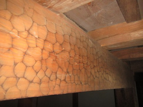 Wooden beams, carved by axes