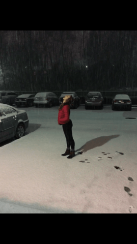 Catching falling snow