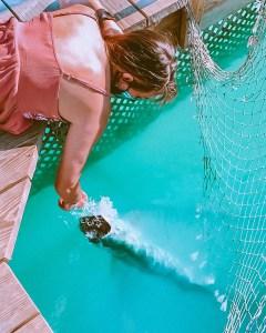 girl hand feeding a large tarpon
