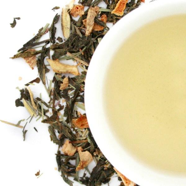 Ginger Lemon loose leaf green tea brewed tea