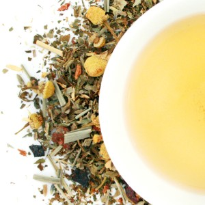 Harvest Gold Herbal Blend brewed tea