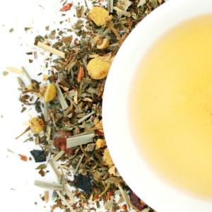 Harvest Gold Herbal Blend brewed tea