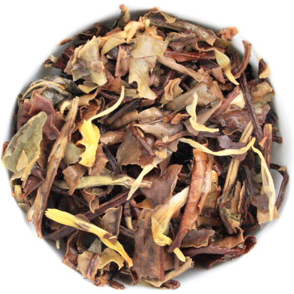 Paradise Peach White Loose Leaf Tea wet leaf