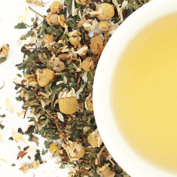 Peppermint Bliss Herbal Blend brewed tea