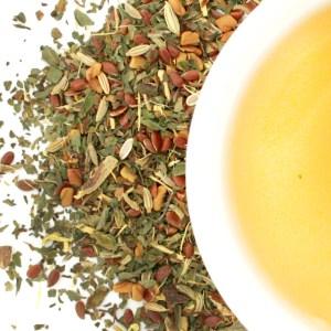 Peppy Mint Herbal Blend brewed tea