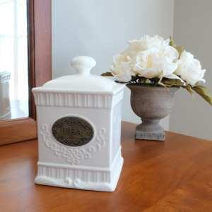 square white ceramic storage jar for tea