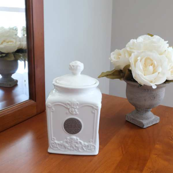 white ceramics square shape storage jar for tea with round cap