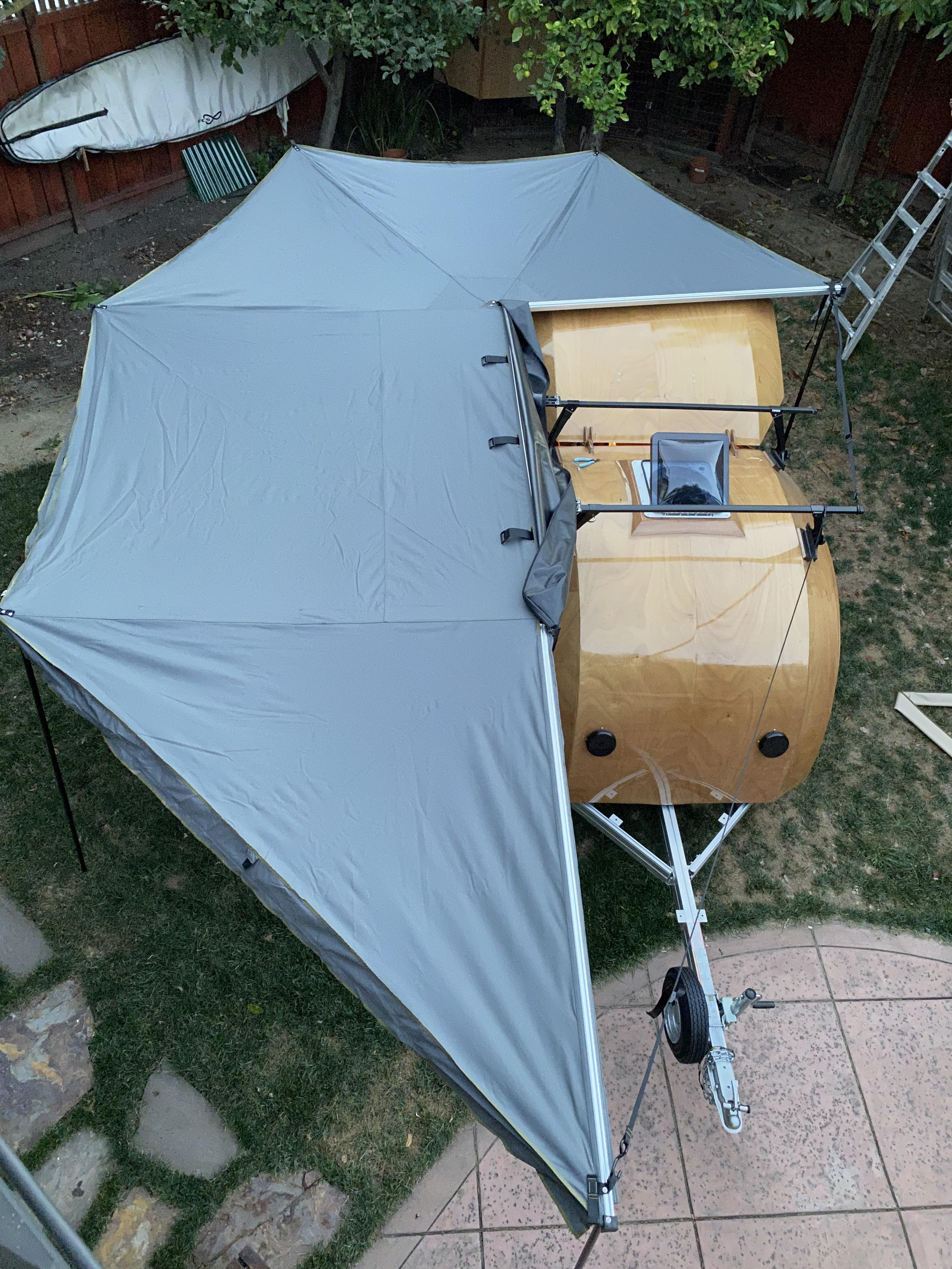 overhead awning view
