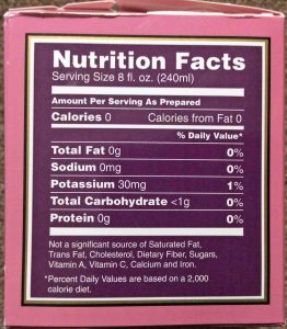 Picture of the Nutrition Facts Label from a 1.5 ounce box of Bigelow English Breakfast Tea.