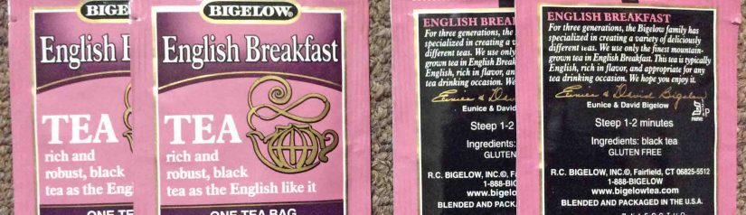 Picture of the individually wrapped Bigelow English Breakfast Teabags, both front and back views.