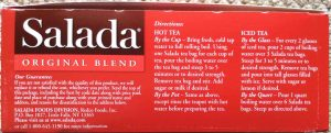 Picture of the brewing instructions side of a box of Salada Naturally Healthy Black Tea.
