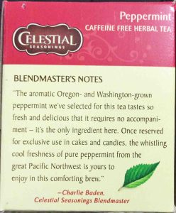 Picture of a Celestial Peppermint Tea box, showing the blendmaster's message about the product.