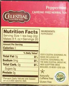 Picture of a 20-count, 1.1 ounce box of Celestial Seasonings Peppermint Herbal Tea, showing the ingredients list and nutrition information.