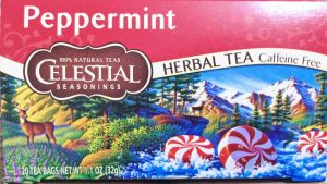 Picture of a 20-count 1.1 ounce box of Celestial Peppermint Herbal Tea.
