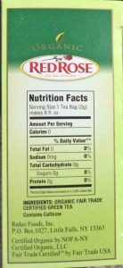 Picture of the nutrition facts and ingredients lists on a 20-count box of Red Rose Single Estate Blend Organic Green Tea.