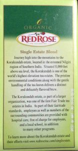 Picture fo the box side of Red Rose India Green Tea, showing description of what Single Estate Blend means.