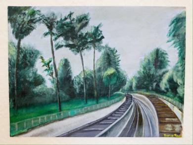 Railroad Tracks at Parc Montsouris, Alesia, Paris, France. 12x16 Acrylic on Canvas $600.