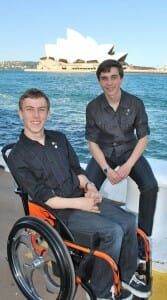 Daniel and William beside the opera house for 2013 NSW Pride of Australia