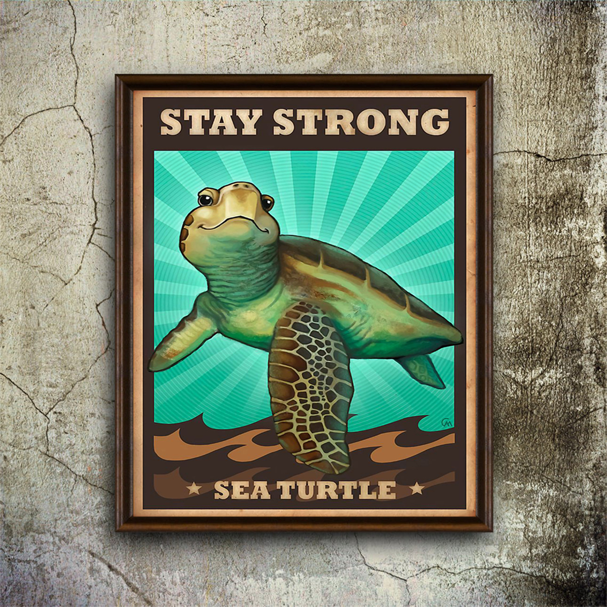 stay strong sea turtle poster