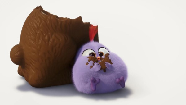 A fat Purple Hatchling eating chocolate - Angry Birds The Movie
