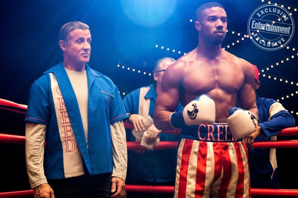 CREED II mvoie - Sylvester Stallone as Rocky Balboa and Michael B. Jordan as Adonis Creed