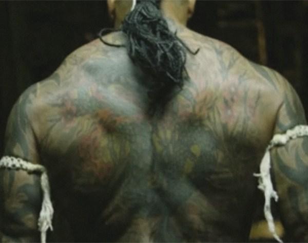 Dave Bautista back tattoo - Kickboxer