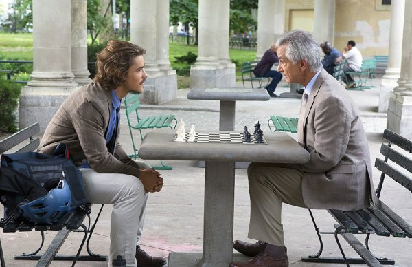 David Strathairn and Brenton Thwaites in the movie An Interview With God