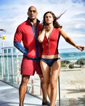Dwayne Johnson and Alexandra Daddario - baywatch