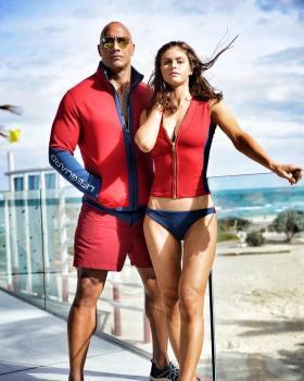 Dwayne Johnson and Alexandra Daddario - baywatch