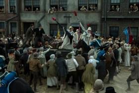 PETERLOO featuring John-Paul Hurley as John Thacker Saxton, Joseph Kloska as Richard Carlile, Victoria Moseley as Susanna Saxton, and Dorothy Duffy as Mary Fildes courtesy of Amazon Studios.